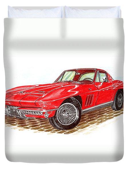 Ruby Red 1966 Corvette Stingray Fastback Duvet Cover