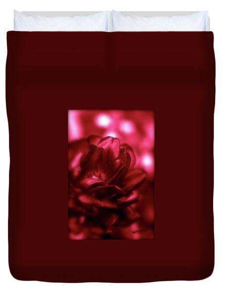 Ruby Red  Dahlia With Bokeh Duvet Cover
