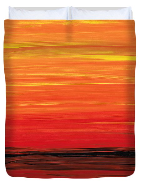 Ruby Shore - Red And Orange Abstract Duvet Cover by Sharon Cummings