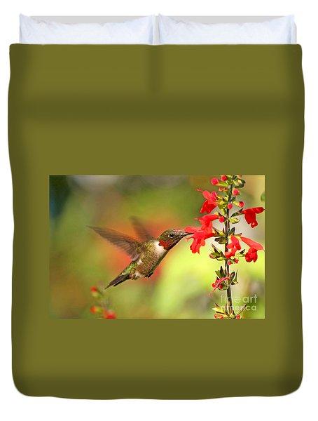 Ruby Throat Hummingbird Photo Duvet Cover
