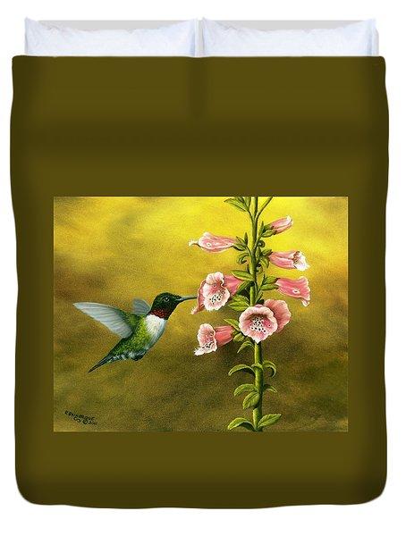 Ruby Throated Hummingbird And Foxglove Duvet Cover
