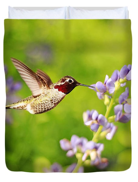 Ruby Throated Hummingbird Duvet Cover by Darren Fisher