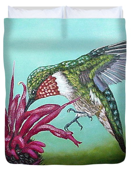 Duvet Cover featuring the painting Ruby-throated Hummingbird by Fran Brooks
