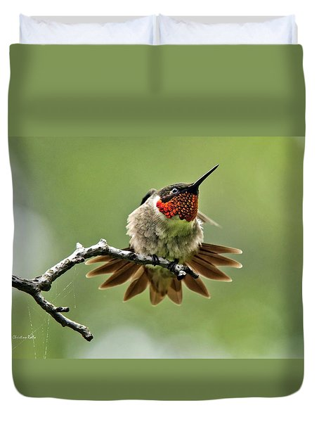 Ruby-throated Velocity Duvet Cover by Christina Rollo