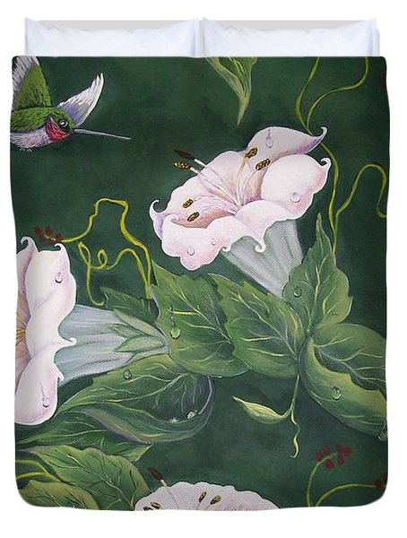 Hummingbird And Lilies Duvet Cover