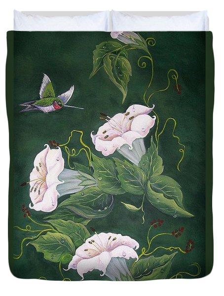 Hummingbird And Lilies Duvet Cover