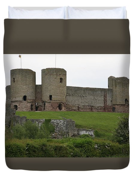 Ruddlan Castle 2 Duvet Cover by Christopher Rowlands