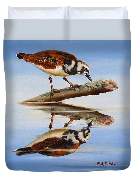 Duvet Cover featuring the painting Ruddy Reflection by Phyllis Beiser
