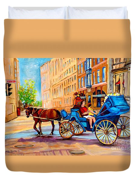 Duvet Cover featuring the painting Rue Notre Dame Caleche Ride by Carole Spandau