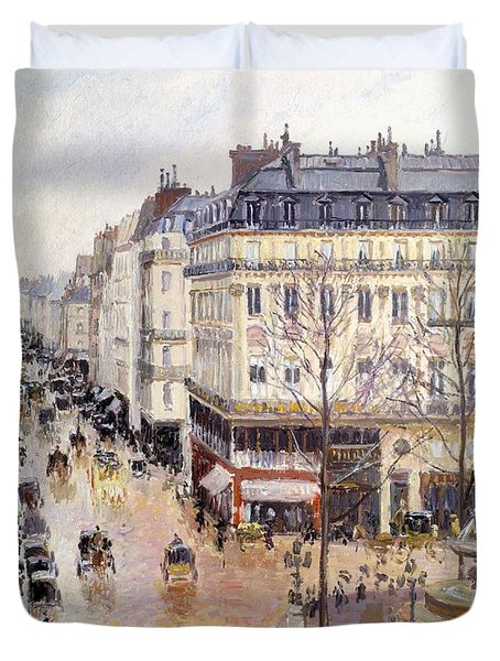 Rue Saint Honore Afternoon Rain Effect Duvet Cover by Camille Pissarro