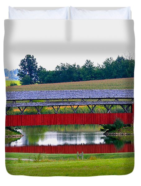 Ruffner Covered Bridge Duvet Cover by Jack R Perry