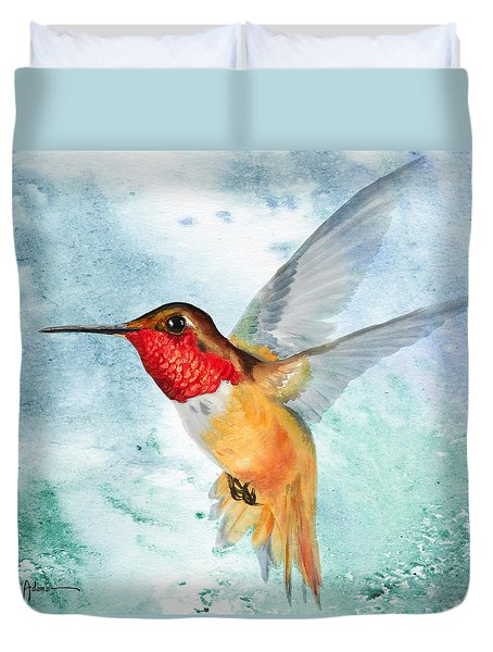 Da199 Rufous Humming Bird By Daniel Adams Duvet Cover