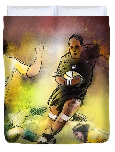 Rugby 01 Duvet Cover by Miki De Goodaboom