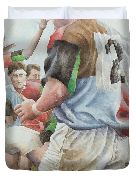 Rugby Match Harlequins V Northampton, Brian Moore At The Line Out, 1992 Wc Duvet Cover