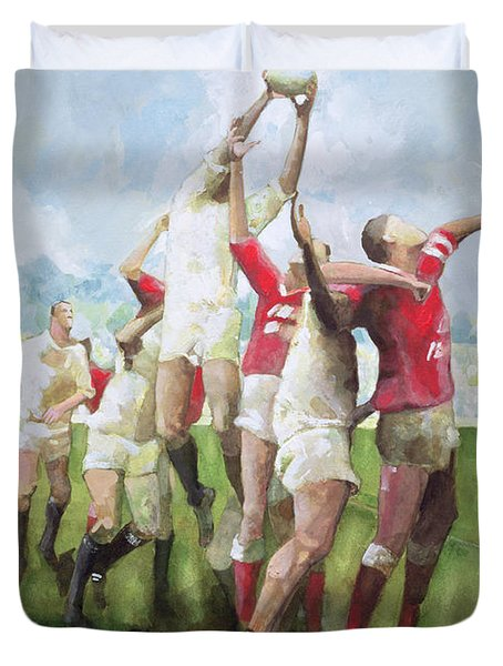 Rugby Match Llanelli V Swansea, Line Out Duvet Cover