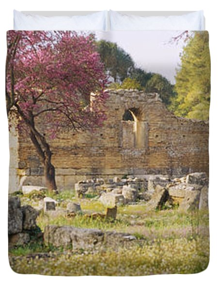 Ruins Of A Building, Ancient Olympia Duvet Cover