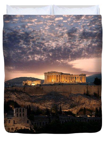 Ruins Of A Temple, Athens, Attica Duvet Cover