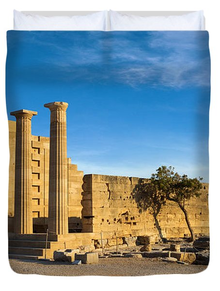 Ruins Of Ancient Doric Temple In Lindos Duvet Cover by Gurgen Bakhshetsyan