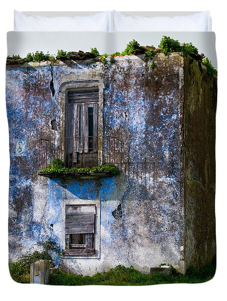 Ruins Of House Painted Blue Duvet Cover