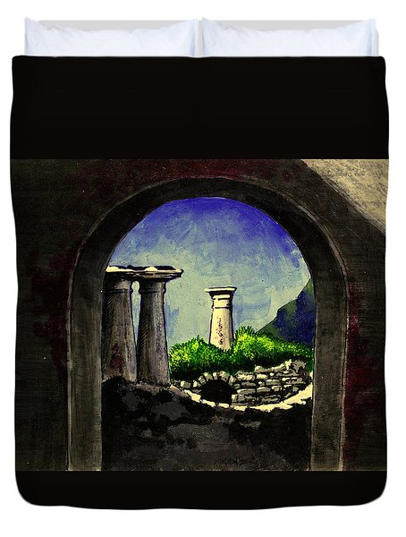 Duvet Cover featuring the painting Ruins by Salman Ravish