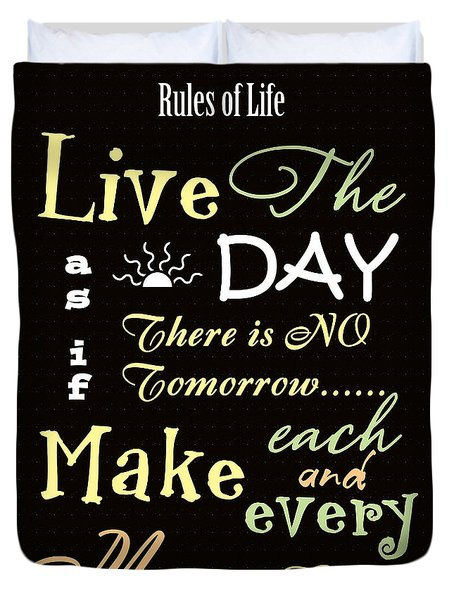 Rules Of Life Duvet Cover
