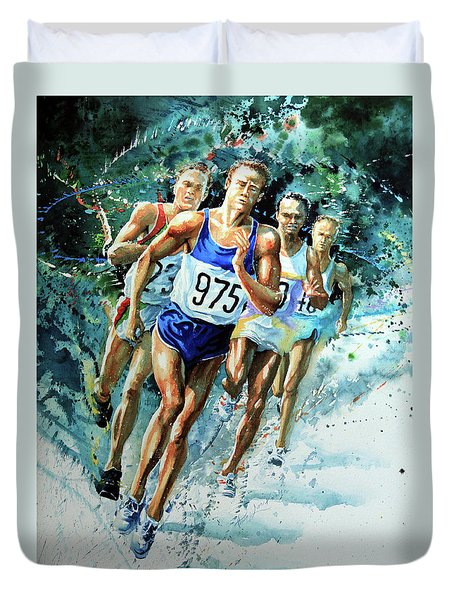 Run For Gold Duvet Cover by Hanne Lore Koehler