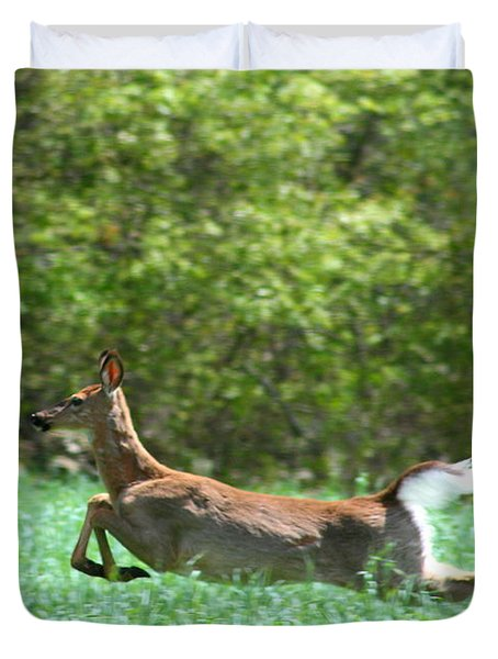 Duvet Cover featuring the photograph Run Forest Run by Neal Eslinger
