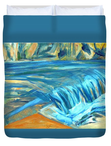 Run River Run Over Rocks In The Sun Duvet Cover by Betty Pieper