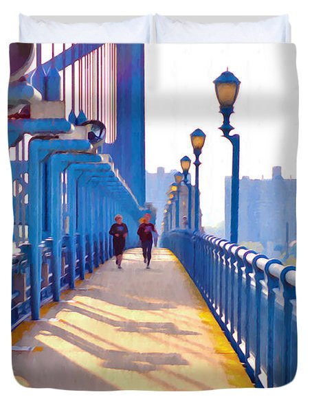 Running Across The Ben Duvet Cover by Bill Cannon
