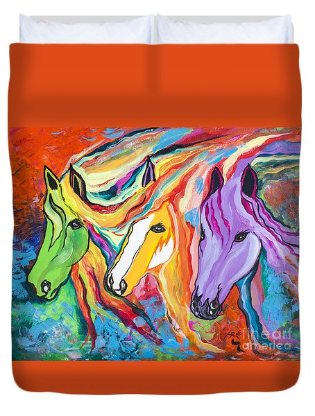 Running Against The Wind Duvet Cover by Janice Rae Pariza