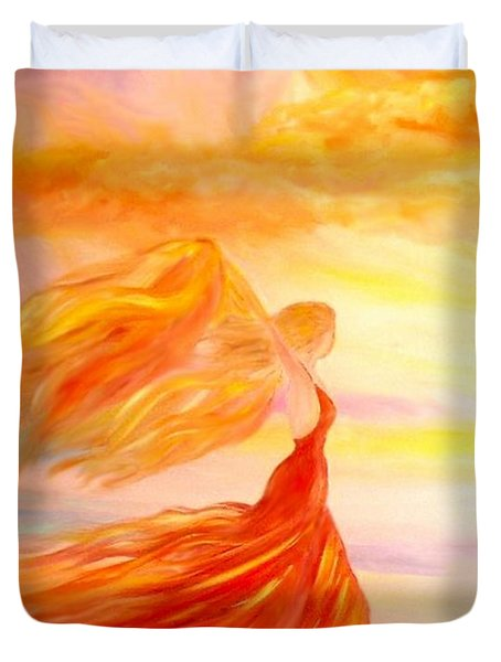 Duvet Cover featuring the painting Running Along The Beach by Lilia D