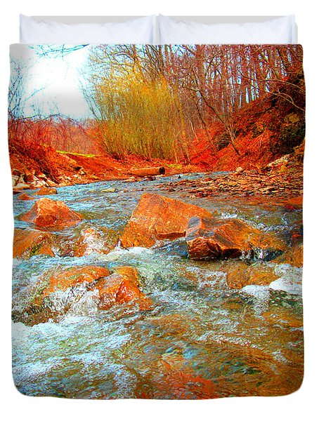Running Creek 2 By Christopher Shellhammer Duvet Cover