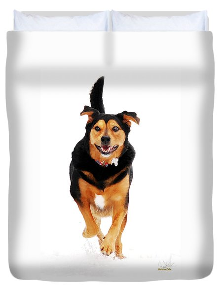 Running Dog Art Duvet Cover by Christina Rollo