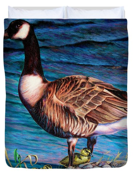 Duvet Cover featuring the painting Running For Cover by Craig T Burgwardt