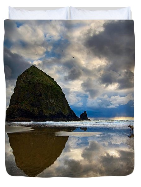 Running Free - Dogs Running In Beautiful Cannon Beach. Duvet Cover by Jamie Pham