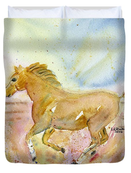 Duvet Cover featuring the painting Running Horse by Linda Feinberg