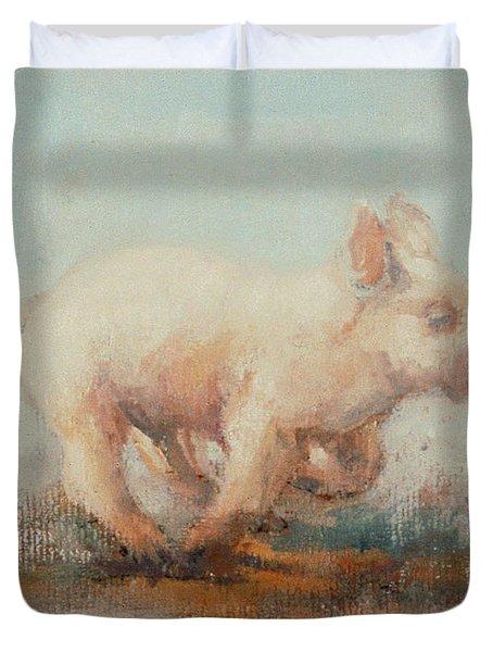 Running Piglet Duvet Cover by Ellie O Shea