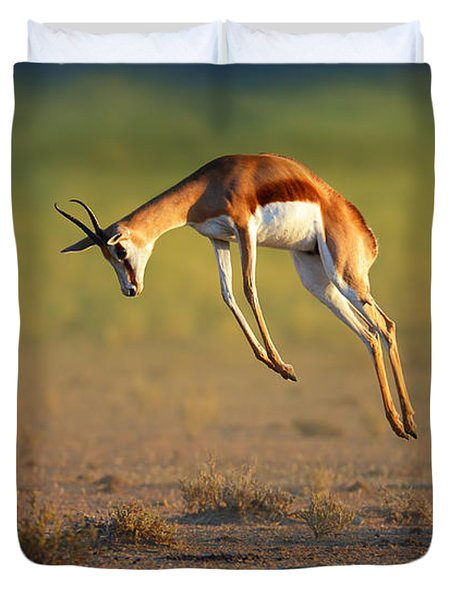 Running Springbok Jumping High Duvet Cover