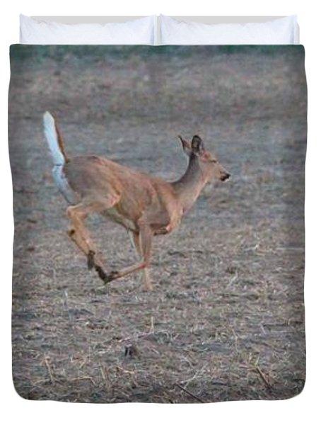 Running White-tailed Deer Duvet Cover