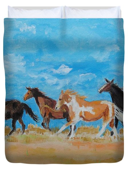 Duvet Cover featuring the painting Running Wild by Judy Kay
