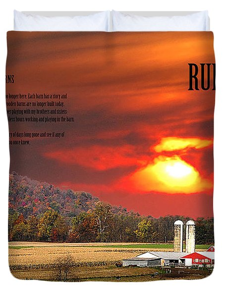 Duvet Cover featuring the photograph Rural Barns  My Book Cover by Randall Branham