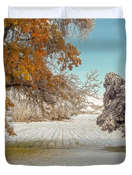 Rural Early Snow In Western Colorado  Duvet Cover