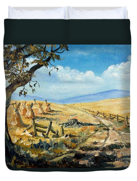 Rural Farmland Americana Folk Art Autumn Harvest Ranch Duvet Cover by Lee Piper