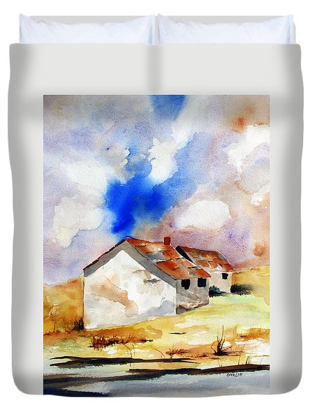 Rural Houses And Dramatic Sky Duvet Cover by Carlin Blahnik