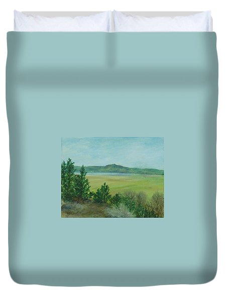 Rural Landscape Art Original Colorful Oil Painting Swan Lake Oregon  Duvet Cover