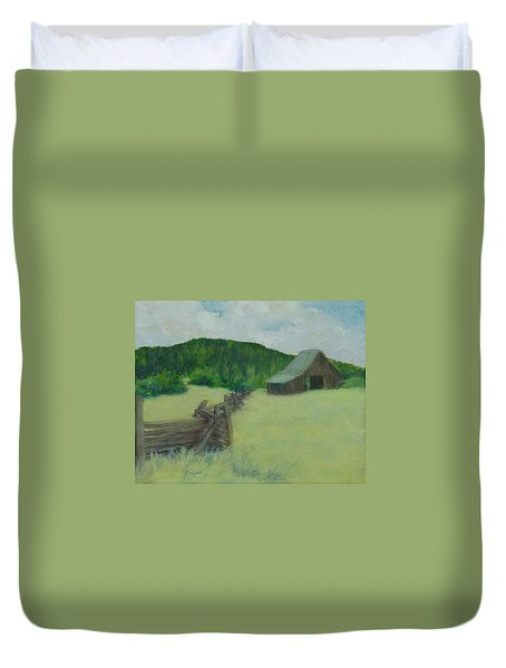 Rural Landscape Colorful Oil Painting Barn Fence Duvet Cover