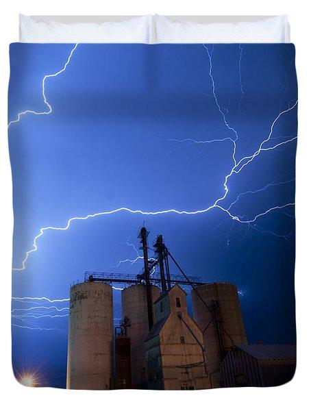 Rural Lightning Storm Duvet Cover