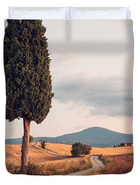 Rural Road With Cypress Tree In Tuscany Italy Duvet Cover by Matteo Colombo