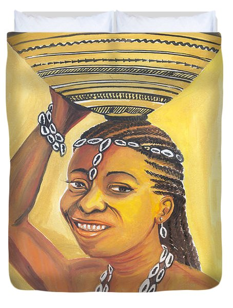 Duvet Cover featuring the painting Rural Woman From Cameroon by Emmanuel Baliyanga