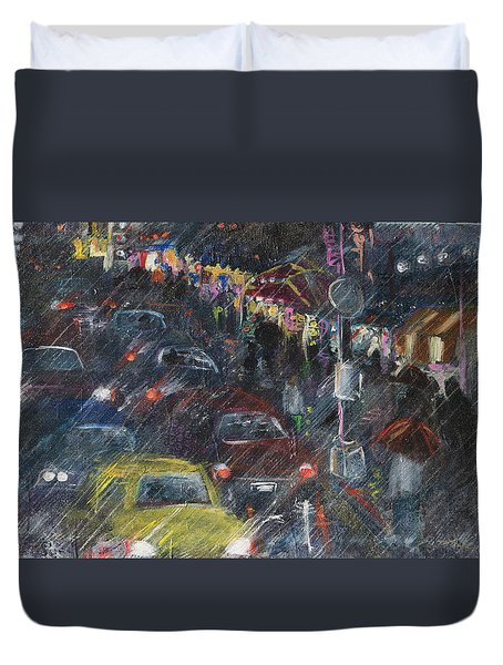 Rush Hour Rain  Duvet Cover
